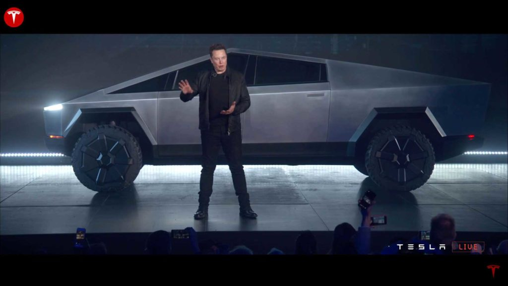 Tesla introduced the Cybertruck pickup truck with a futuristic design