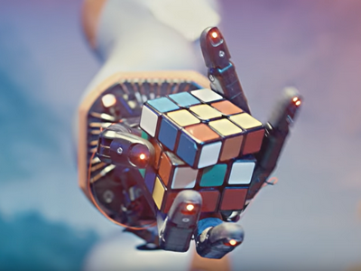 Robot is collecting Rubik's cube