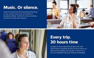 Philips Audio Performance PH805BK Noise Canceling Wireless Headphones with Hi-Res Audio